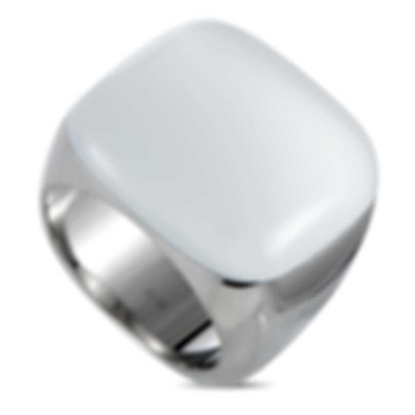 """Calvin Klein - """"Placid"""" Stainless Steel, White Glass Ring KJ0CWR0201-06"""