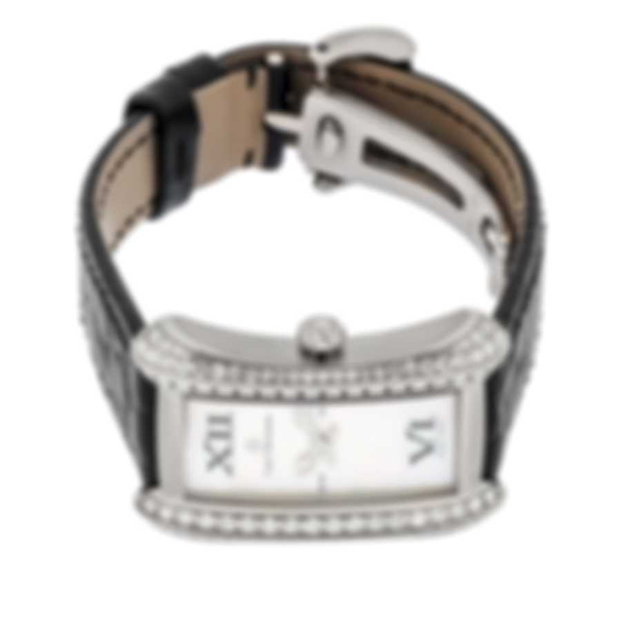 Carl F Bucherer Alacria Queen Diamond 18k White Gold Quartz Ladies Watch-BLACK