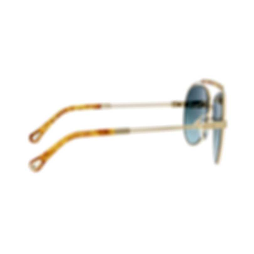 Chloe Women's Gold Metal Aviator Style Sunglasses CE141S-736