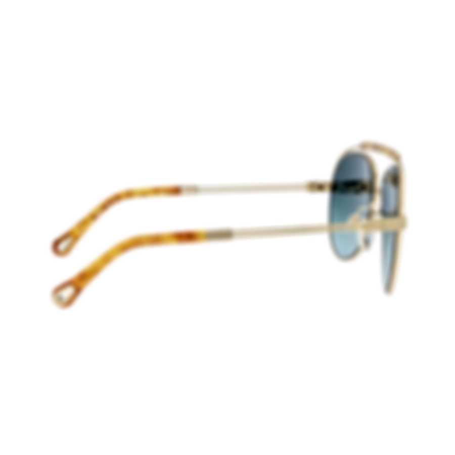 Chloe Women's Gold Metal Aviator Style Sunglasses CE141S-736