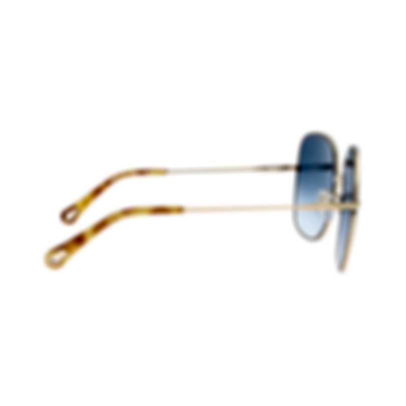 Chloe Women's Gold And Blue Metal Sunglasses CE172S-816