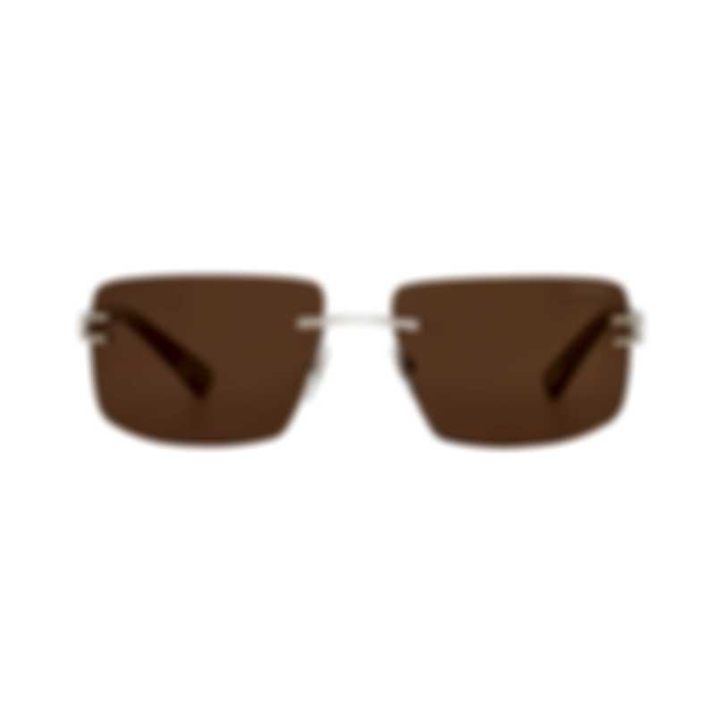 Chopard Brown & Silver And Marble Grey Rimless Sunglasses 95217-0391