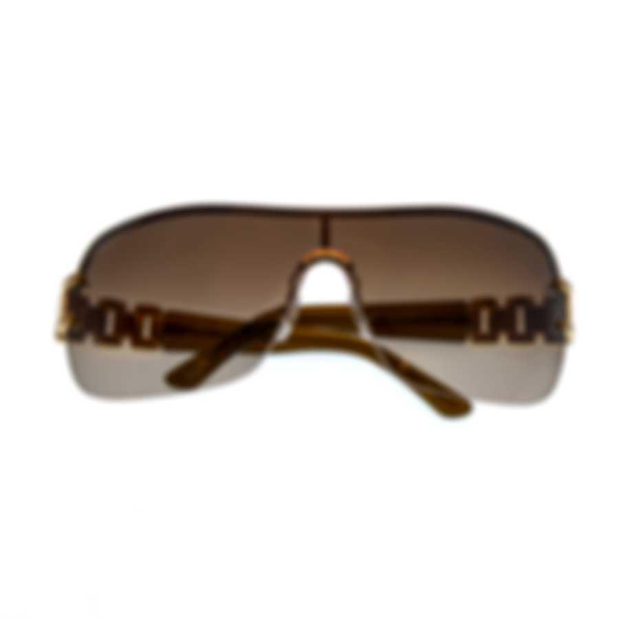 Chopard Designer Brown & Brown And Gold Shield Sunglasses 95221-0126