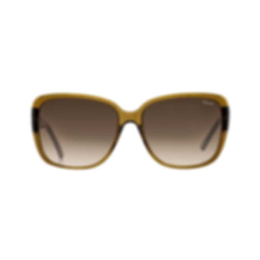 Chopard Imperiale Brown & Olive Retro Square Sunglasses 95221-0244