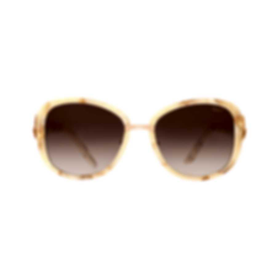 Chopard Brown & Ivory Retro Square Sunglasses 95221-0255