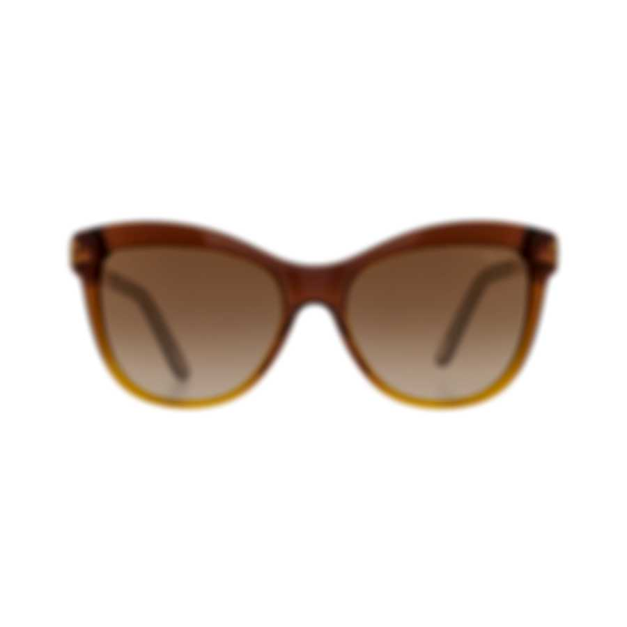 Chopard Designer Brown & Amber Cat-Eye Butterfly Shape Sunglasses 95221-0265