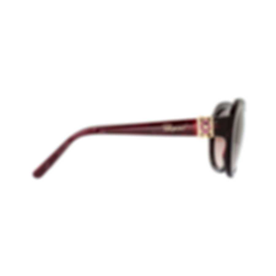 Chopard Imperiale Gradient & Bordeaux Feather Cat-Eye Sunglasses 95221-0352