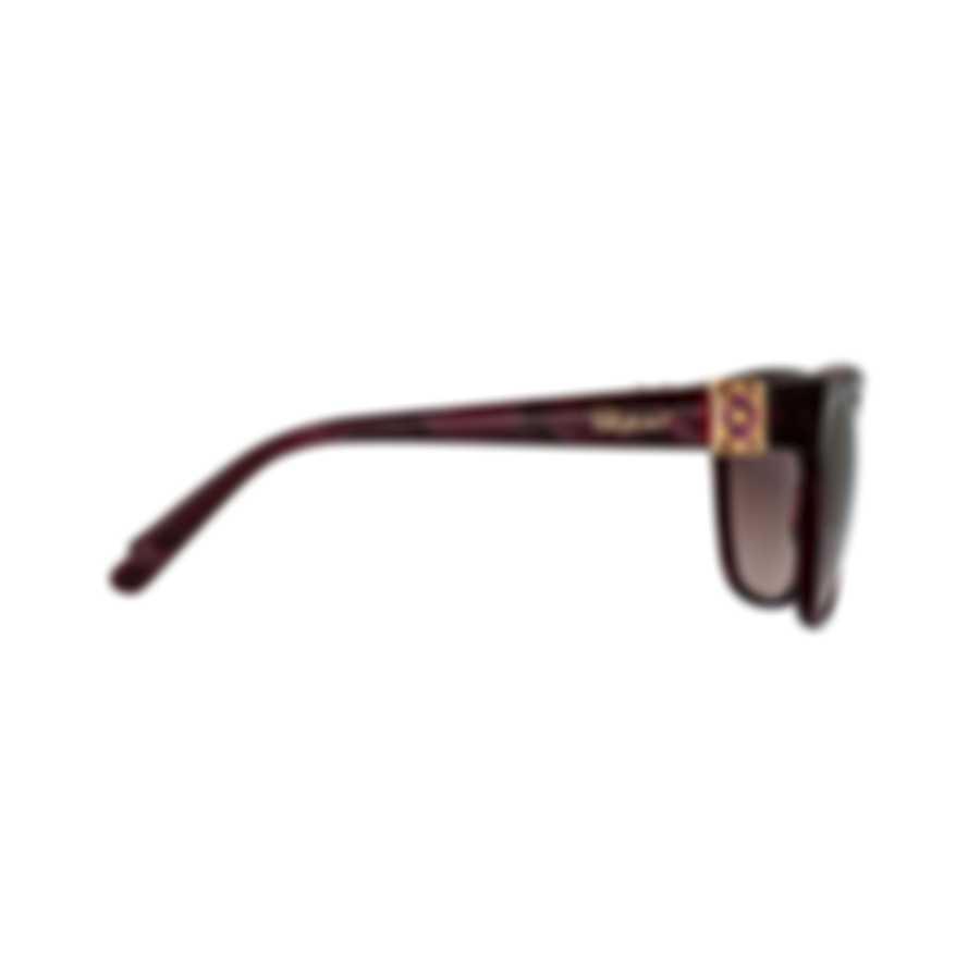 Chopard Imperiale Bordeaux & Bordeaux Feather Square Sunglasses 95221-0357