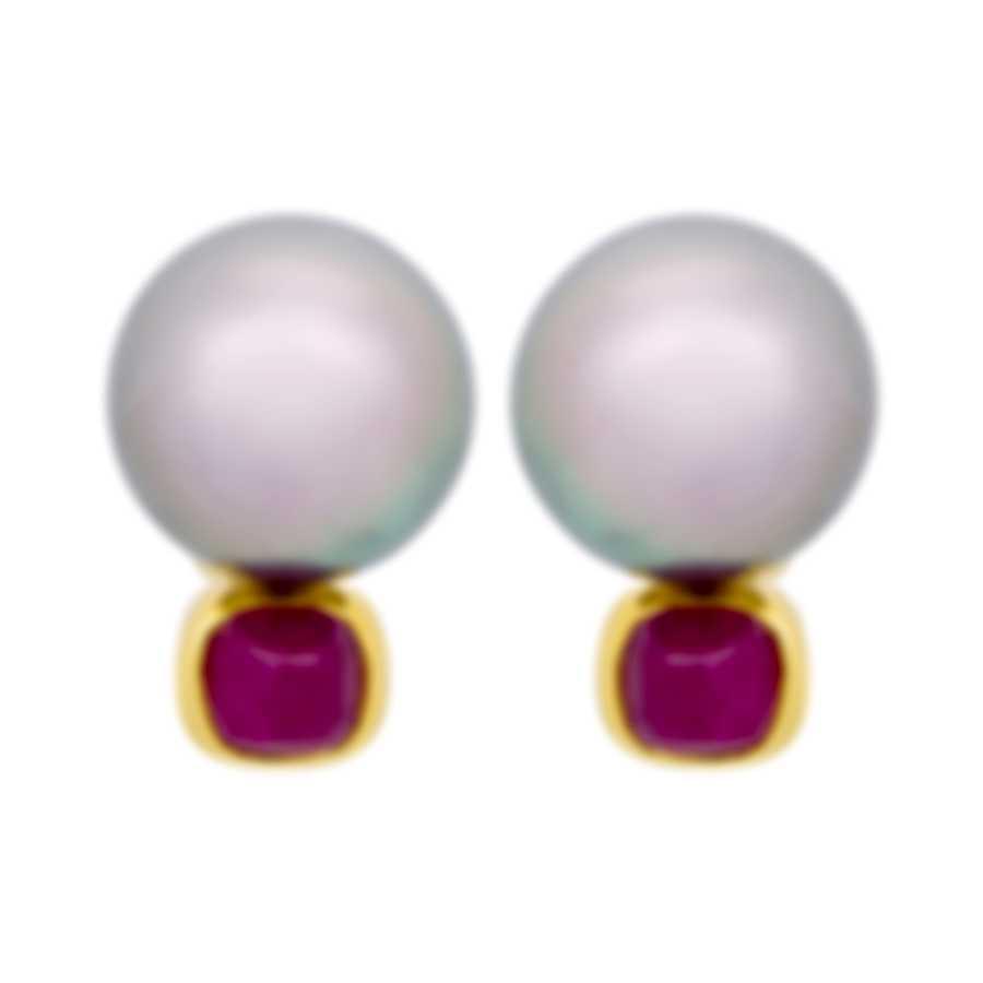 Assael 18k Yellow Gold Ruby And Tahitian Pearl Drop Earrings E3239