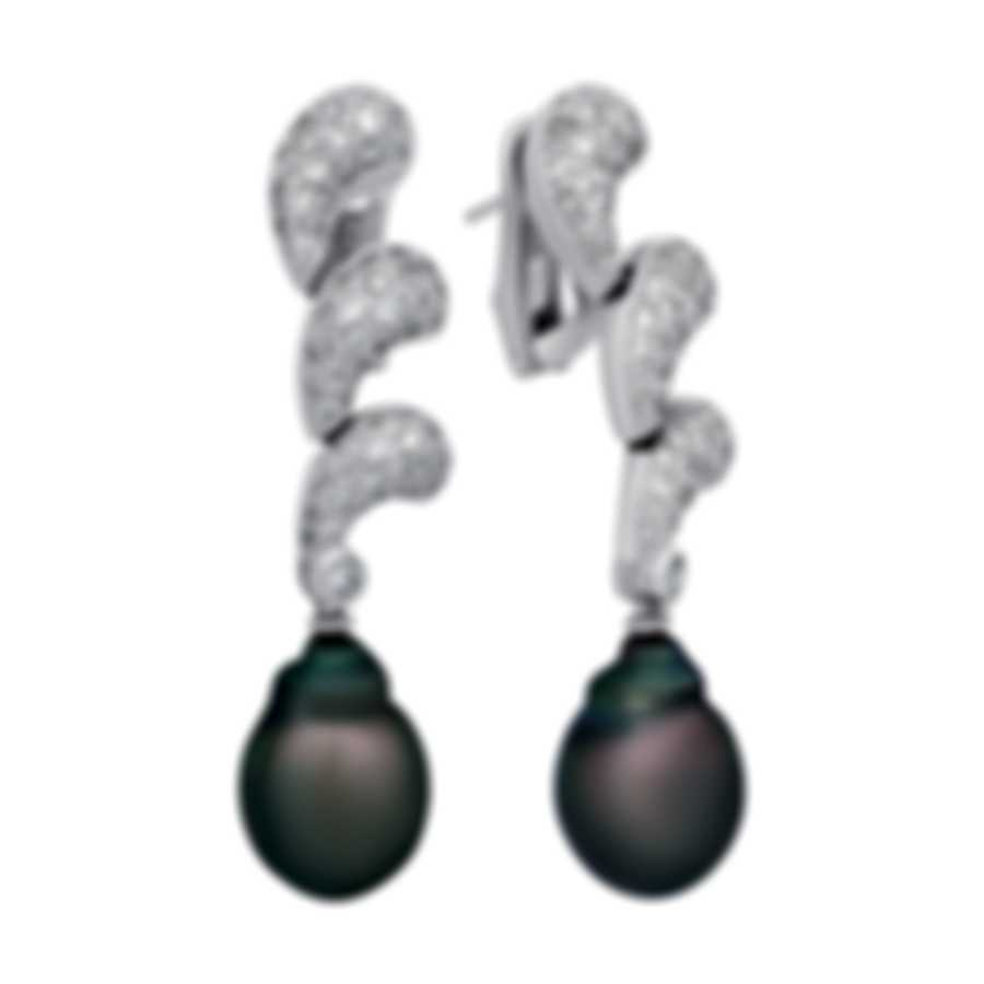 Assael 18k White Gold Diamond(1.46ct Twd) And Tahitian Pearl Earrings E3671