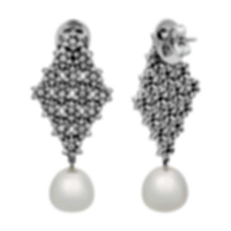 Assael 18k White Gold Diamond 2.9ct And South Sea Pearl Earrings E3975