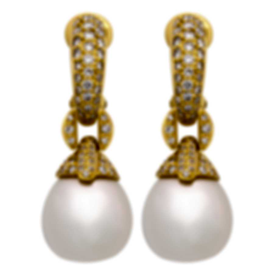 Assael 18k Yellow Gold Diamond 1.48ct And South Sea Pearl Earrings E4318