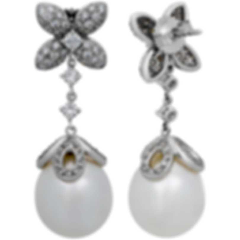 Assael 18k White Gold Diamond 2.15ct And South Sea Pearl Earrings E4456