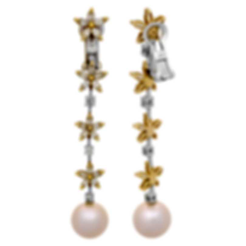Assael 18k White And 18k Yellow Gold Diamond 3.34ct And Pearl Earrings E4427