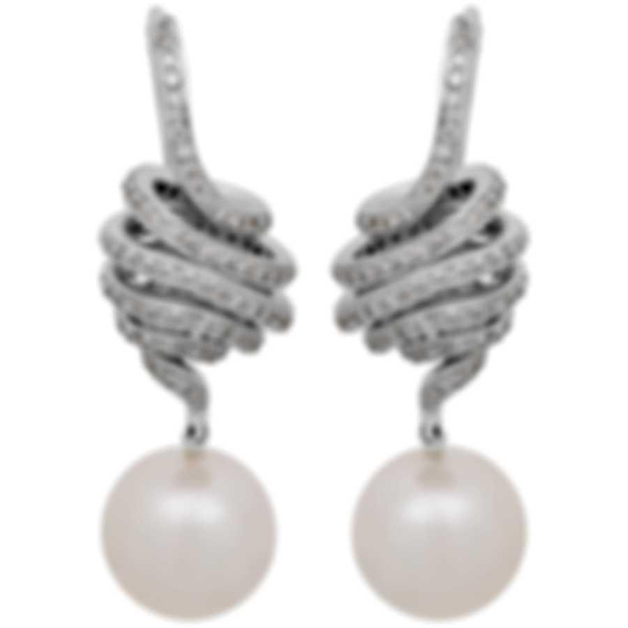 Assael 18k White Gold Diamond 1.41ct And Pearl Earrings E4517