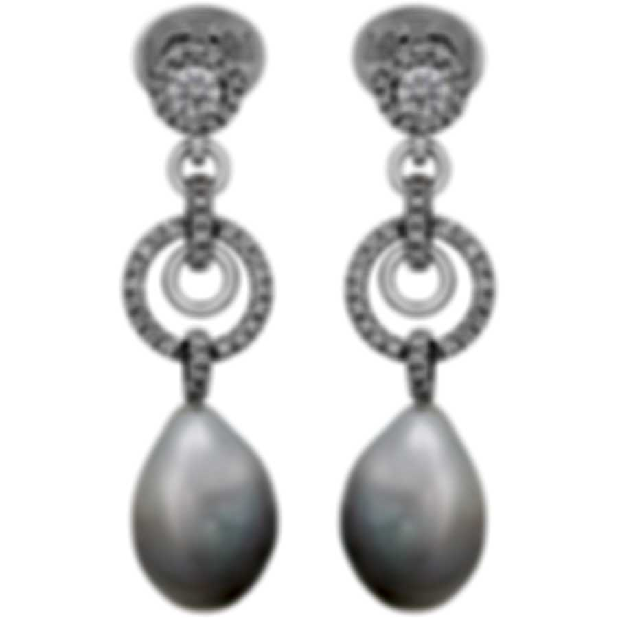 Assael 18k White Gold Diamond 1.23ct And South Sea Pearl Earrings E4518