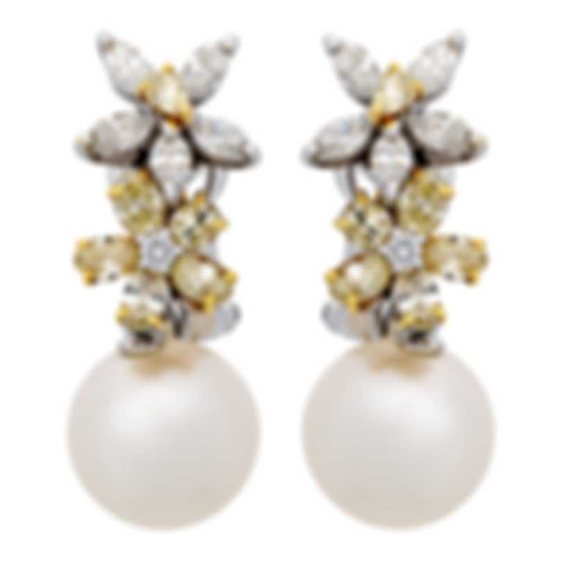 Assael 18k White And 18k Yellow Gold Diamond 2.04ct And Pearl Earrings E4533