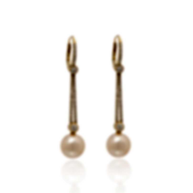 Assael 18k Yellow Gold Diamond 1.03ct And Pearl Earrings E4662