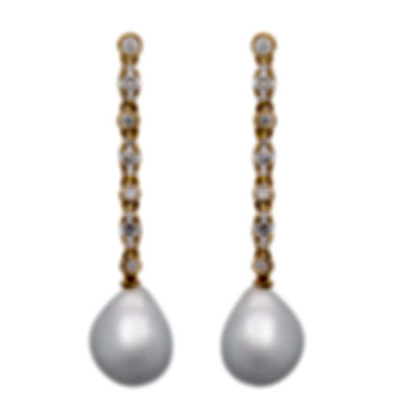 Assael 18k Yellow Gold Diamond 0.84ct And South Sea Pearl Earrings E4893