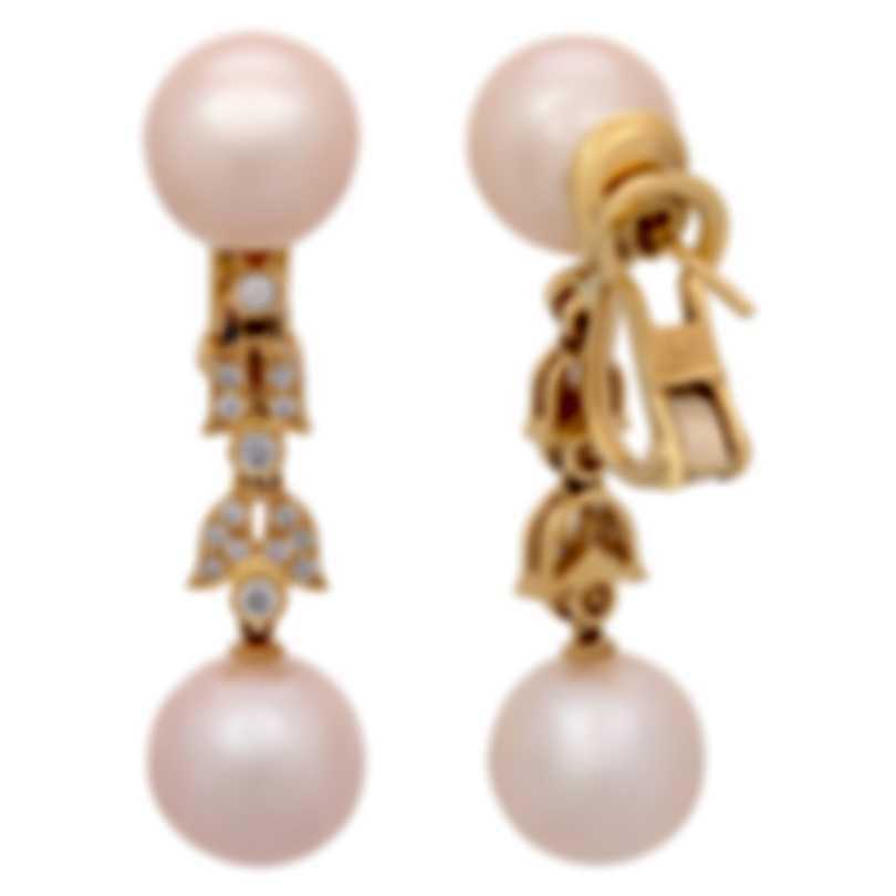 Assael 18k Yellow Gold Diamond 0.3ct And Pearl Earrings E4896