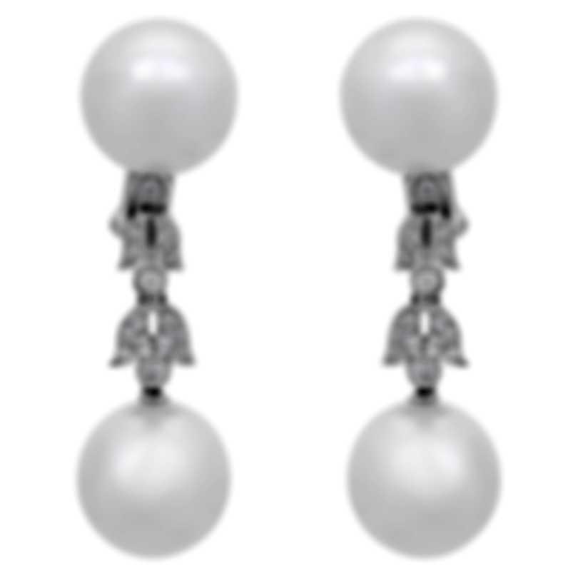 Assael 18k White Gold Diamond 0.34ct And South Sea Pearl Earrings E4818