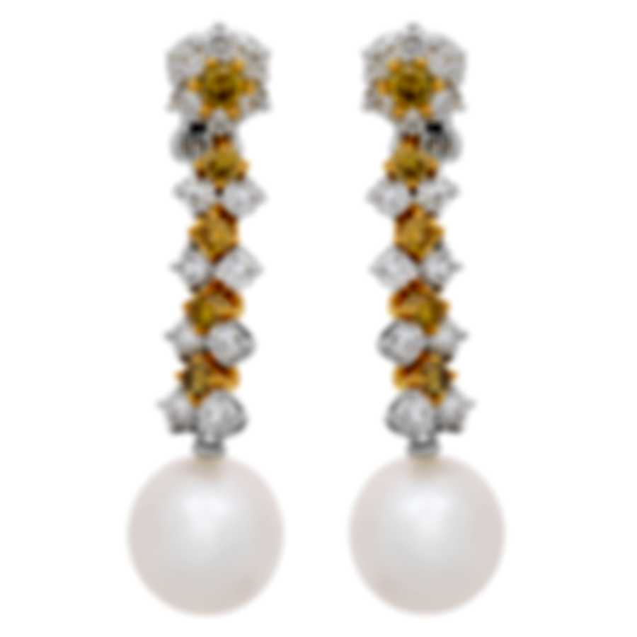 Assael 18k White And 18k Yellow Gold Diamond 2.51ct And Pearl Earrings E4830