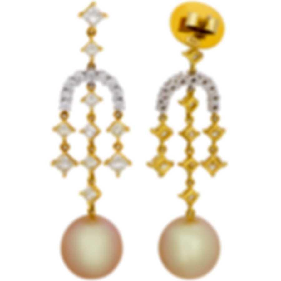 Assael 18k White Yellow Gold Diamond 3.06ct South Sea Pearl Earrings E4926
