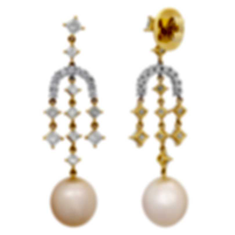 Assael 18k White Yellow Gold Diamond 3.06ct South Sea Pearl Earrings E4928
