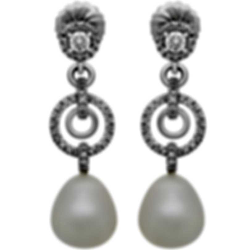 Assael 18k White Gold Diamond 1.21ct And South Sea Pearl Earrings E4934