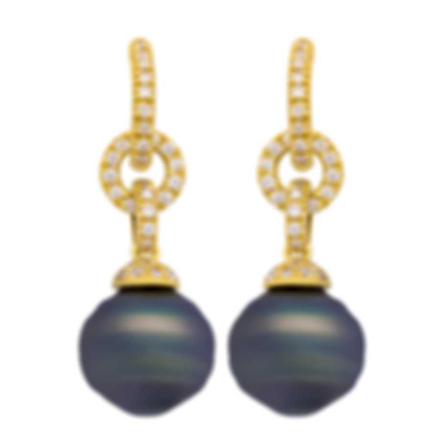 Assael 18k Yellow Gold Diamond And Tahitian Pearl Earrings E4938