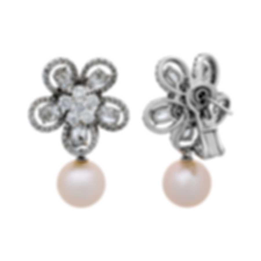 Assael 18k White Gold Diamond 5.23ct And Pearl Earrings E5118