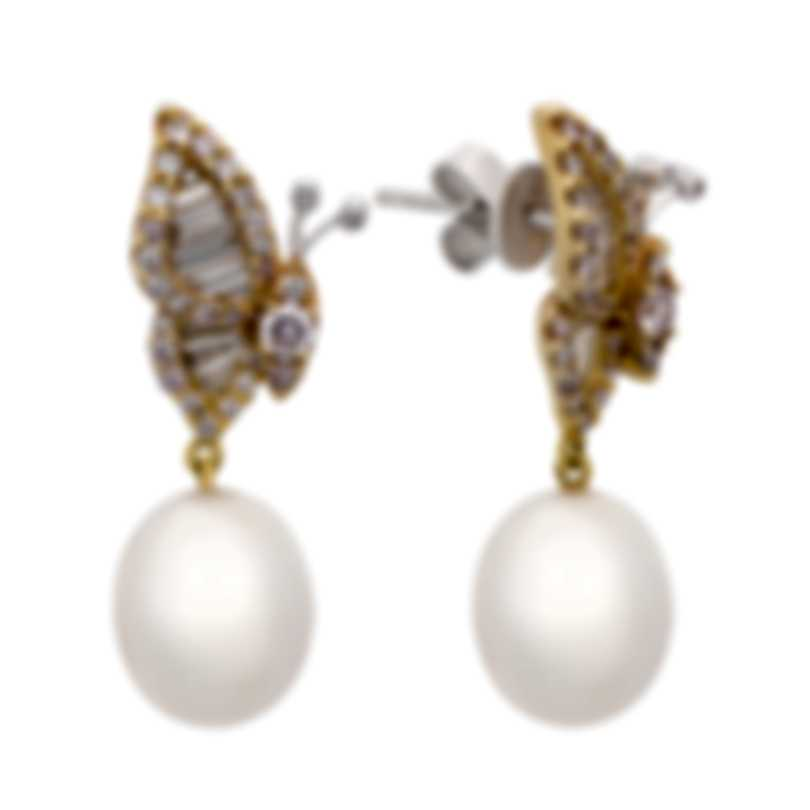 Assael 18k White And Rose Gold Diamond 1.54ct And South Sea Pearl Earrings E5134