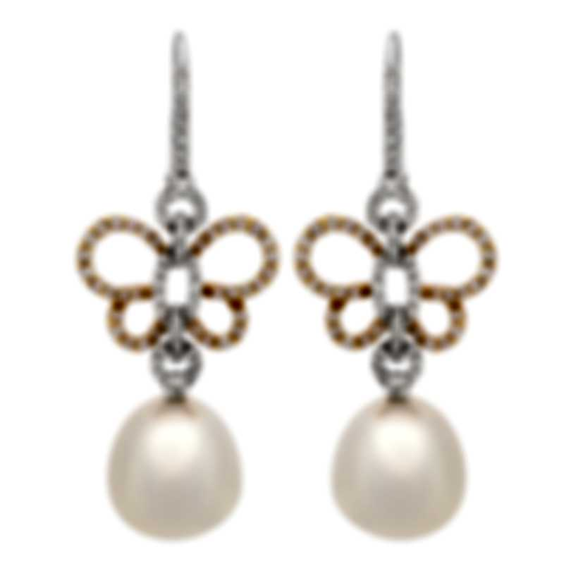 Assael 18k White & Rose Gold Diamond 1.15ct And South Sea Pearl Earrings E5345