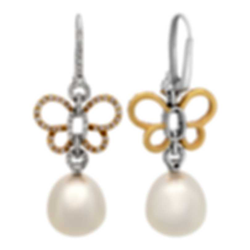 Assael 18k White & Rose Gold Diamond 1.15ct And South Sea Pearl Earrings E5345