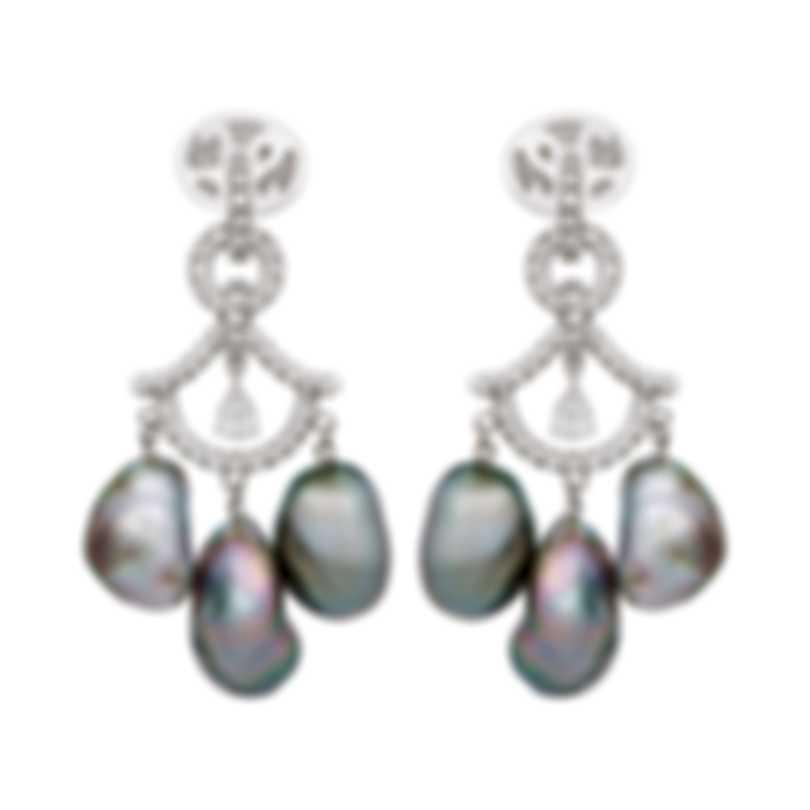 Assael 18k White Gold Diamond 0.89ct And Tahitian Keshi Pearl Earrings E5382