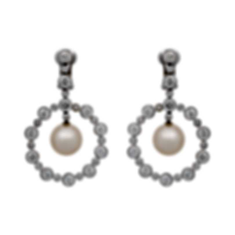 Assael 18k White Gold Diamond 4.49ct And Pearl Earrings E5411