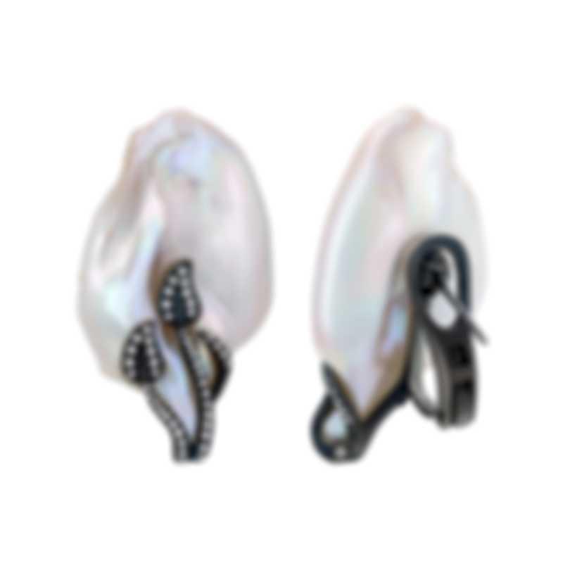 Assael 18k White Gold Diamond 0.49ct And Pearl Earrings E5639
