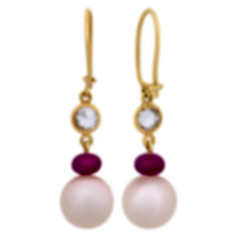 Assael 18k Yellow Gold Diamond 0.82ct And Ruby Earrings E5913