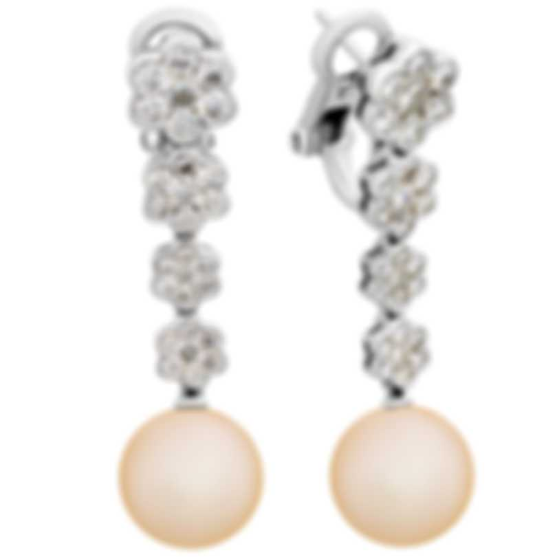 Assael 18k White Gold Diamond 2.19ct And Pearl Earrings E5934