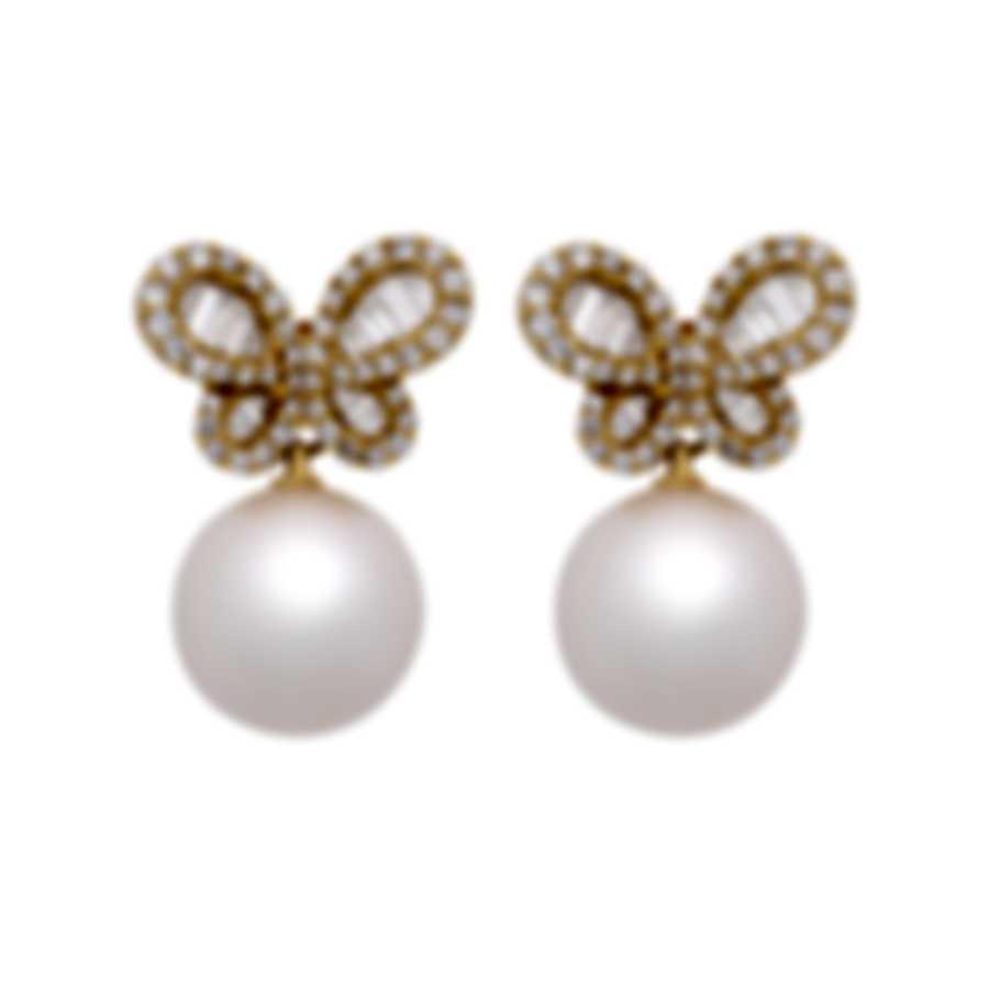 Assael 18k Yellow Gold Diamond 1.33ct And Pearl Earrings E6118