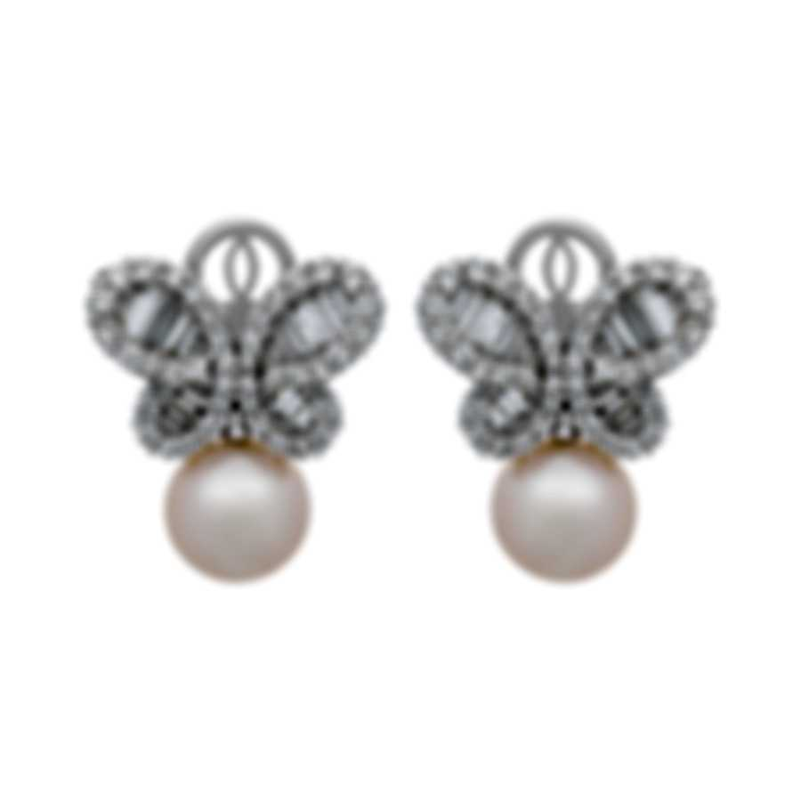Assael 18k White Gold Diamond 4ct And Pearl Earrings E6123