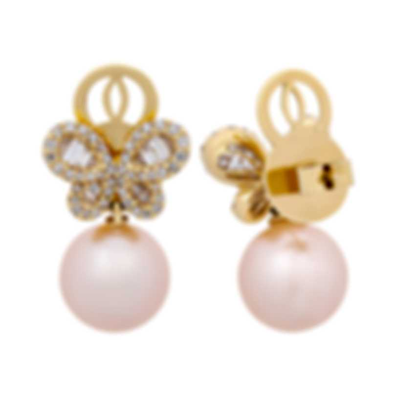 Assael 18k Yellow Gold Diamond 1.35ct And Pearl Earrings E6121
