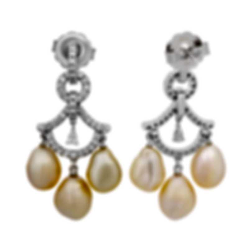 Assael 18k White Gold Diamond 1.02ct And Keshi Pearl Earrings E6707