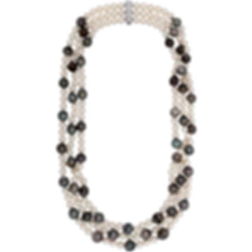 Assael 18k White Gold Diamond 0.22ct And Tahitian Pearl Necklace N4169