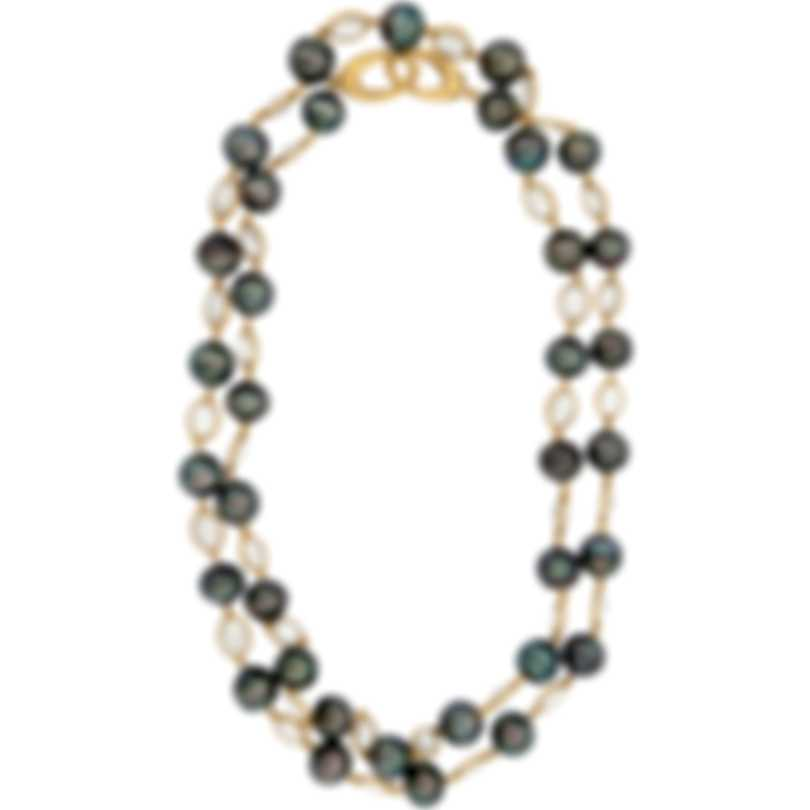 Assael 18k Yellow Gold Tahitian Pearl  And Moonstone Necklace N4389