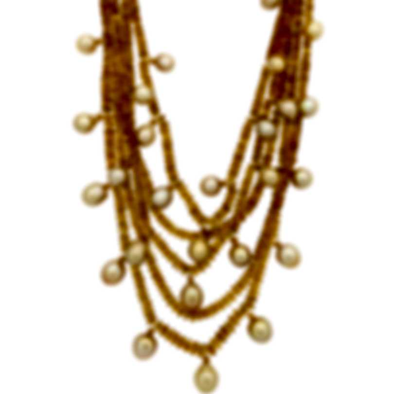 Assael 18k Yellow Gold South Sea Pearl And Orange Garnet Necklace N4395