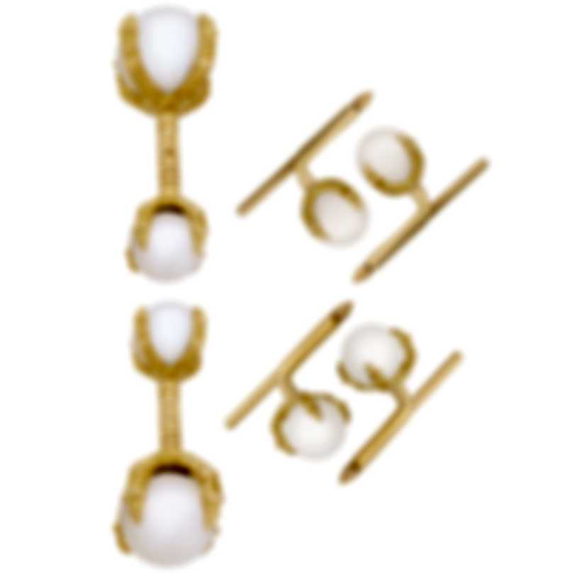 Assael 18K Yellow Gold And Pearl Cufflinks Set P3409