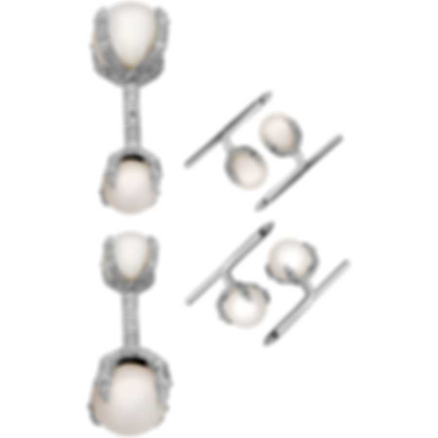Assael 18K White Gold And Pearl Cufflinks Set P3427