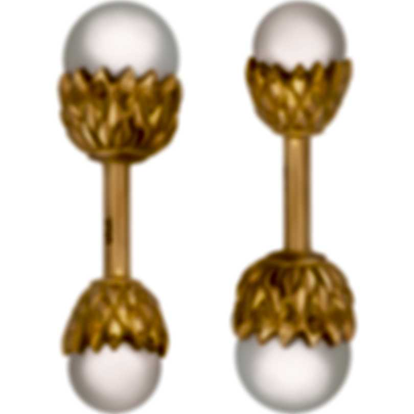 Assael 18K Yellow Gold And Pearl Cufflinks Set P3563