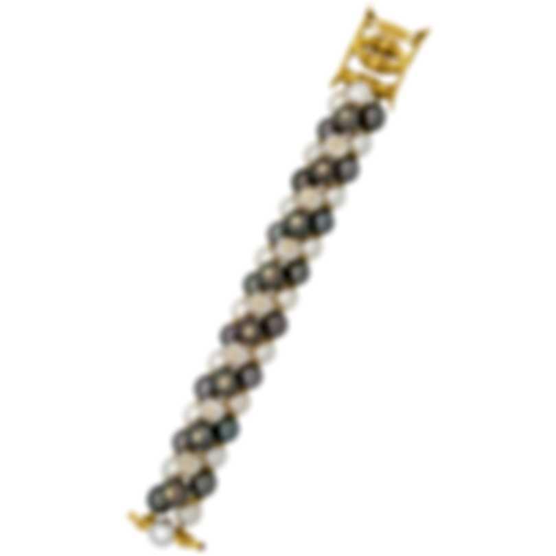 Assael 18k Yellow Gold Diamond 1.05ct And Tahitian Pearl Bracelet PDB0039